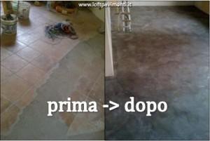 Pavimento in cemento su piastrelle prima e dopo